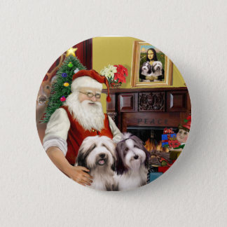 Santa's Two Bearded Collies 2 Inch Round Button