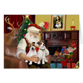 Santa's Two Jack Russell Terriers Card