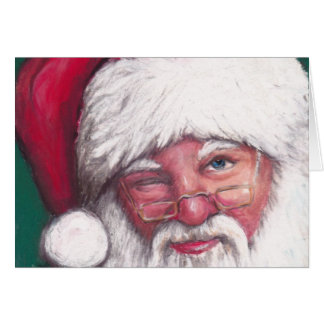 Santa's Wink Art Note Card