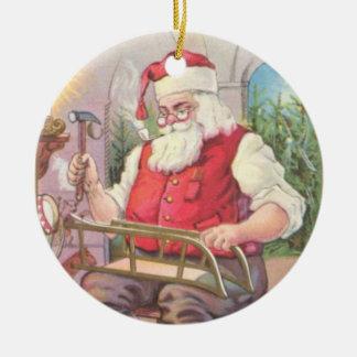 Santa's Workshop Ceramic Ornament