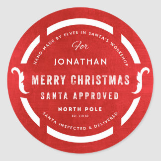 Santa's Workshop Merry Christmas North Pole Classic Round Sticker