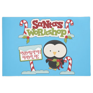 Santa's Workshop Penguin Doormat