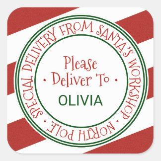 Santa's Workshop Stripe Christmas Gift Square Sticker