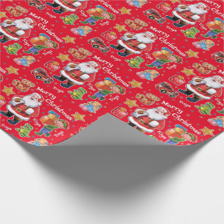 Santa's workshop toys wrapping paper red