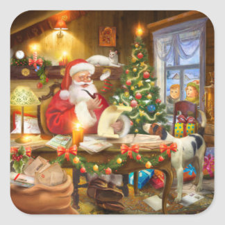 Santa's workshop with cat watching square sticker