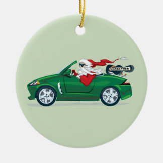 Santa's World Tour Convertible Round Ceramic Ornament
