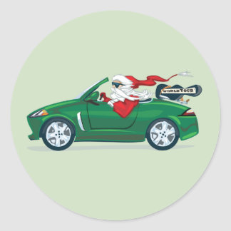 Santa's World Tour Convertible Round Sticker