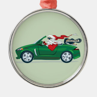 Santa's World Tour Convertible Silver-Colored Round Ornament