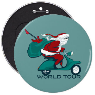 Santa's World Tour Scooter 6 Inch Round Button