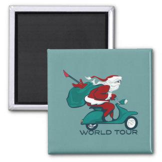 Santa's World Tour Scooter Fridge Magnets