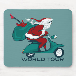 Santa's World Tour Scooter Mouse Pad