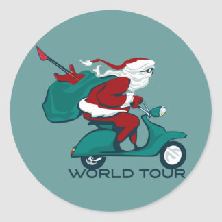 Santa's World Tour Scooter Round Sticker