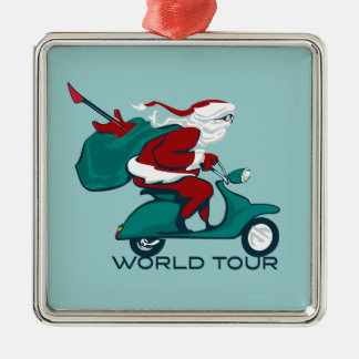 Santa's World Tour Scooter Silver-Colored Square Ornament