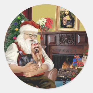 Santa's Yorkshire Terrier #9 Classic Round Sticker