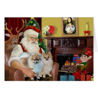 Santa'sTwo Pomeranians Card