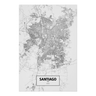 Santiago, Chile (black on white) Poster