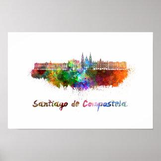 Santiago de Compostela skyline in watercolor Poster