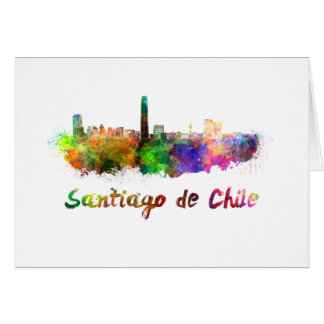 Santiago of Chile skyline in watercolor Card