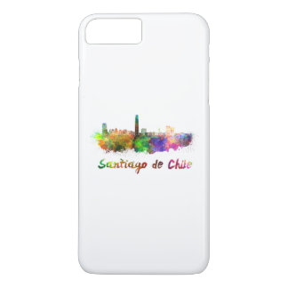 Santiago of Chile skyline in watercolor iPhone 8 Plus/7 Plus Case