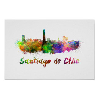 Santiago of Chile skyline in watercolor Poster