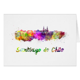 Santiago of Chile V2 skyline in watercolor Card