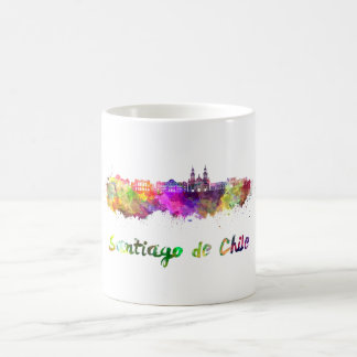 Santiago of Chile V2 skyline in watercolor Coffee Mug