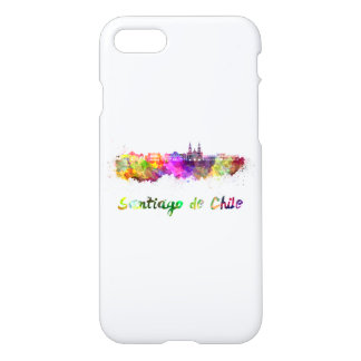 Santiago of Chile V2 skyline in watercolor iPhone 8/7 Case