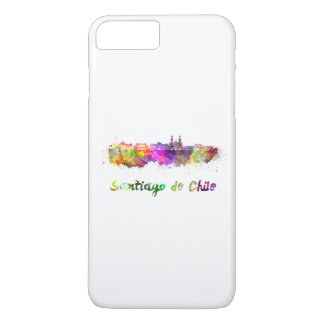 Santiago of Chile V2 skyline in watercolor iPhone 8 Plus/7 Plus Case
