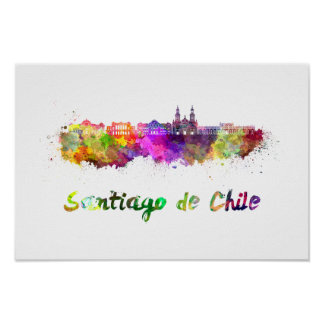 Santiago of Chile V2 skyline in watercolor Poster