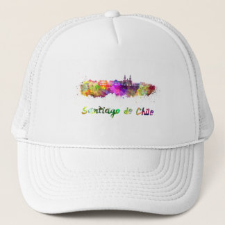 Santiago of Chile V2 skyline in watercolor Trucker Hat