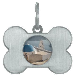 Santorini Church, Greece Pet Name Tag