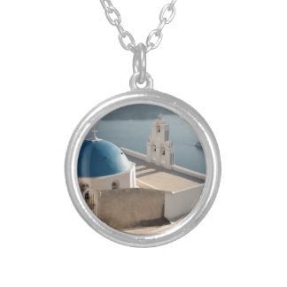 Santorini Church, Greece Silver Plated Necklace