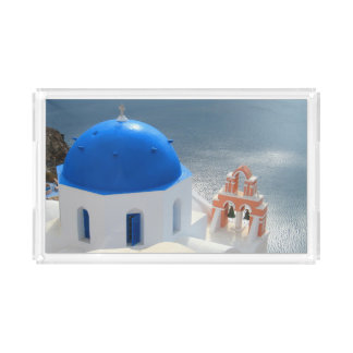 Santorini Church in the Afternoon Sun Acrylic Tray