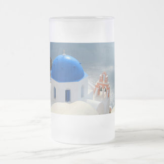 Santorini Church in the Afternoon Sun Frosted Glass Beer Mug