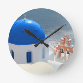 Santorini Church in the Afternoon Sun Round Clock
