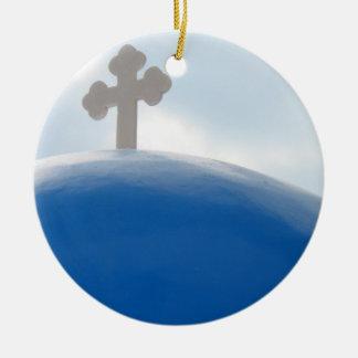 Santorini Cross in the Afternoon Sun Ceramic Ornament