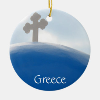 Santorini Cross in the Afternoon Sun Ceramic Ornament