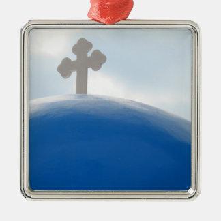 Santorini Cross in the Afternoon Sun Metal Ornament