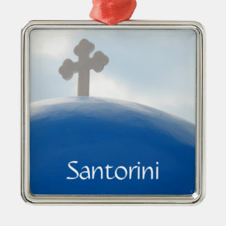 Santorini Cross in the Afternoon Sun Metal Ornament