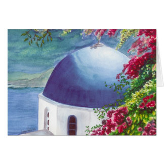 santorini dome greeting card