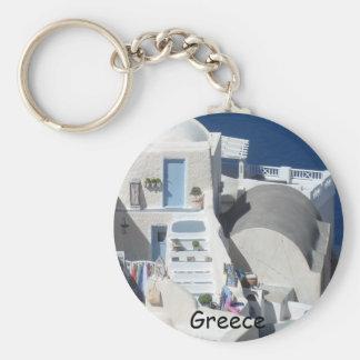 Santorini, Greece Basic Round Button Keychain