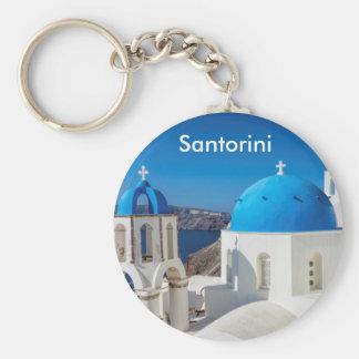 Santorini Greece Basic Round Button Keychain