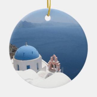 Santorini Greece Ceramic Ornament