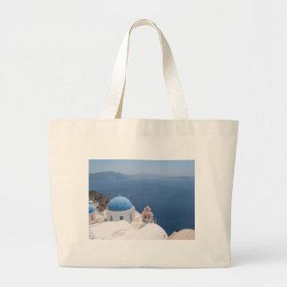 Santorini Greece Large Tote Bag