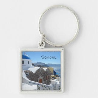 Santorini, Greece Silver-Colored Square Keychain