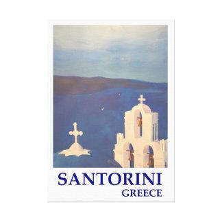 Santorini Greece with chruch Retro Style Canvas Print