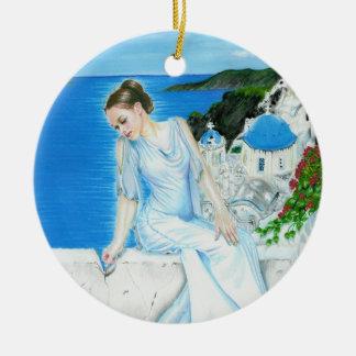 Santorini Greek beauty Ornament