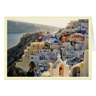 Santorini Greek Island Blue and White Houses Card