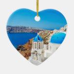 Santorini Island - Caldera, Greece Ceramic Heart Ornament