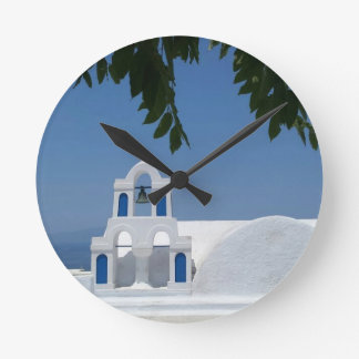 Santorini Island Greece Round Clock